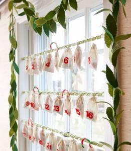 Adventni koledar z vrečkami iz blaga
